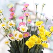PE Daisy 5 Colors Mini Yellow Daisy Artificial Flower Bouquet Wedding Party Table Decorations Home Decor недорого