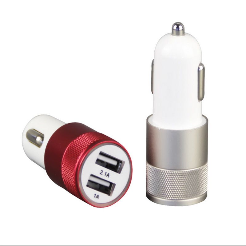 Double USB Car Charger Charging Metal Flat Mobile