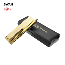 Swan SW1456-1 14 Holes 56 Tones Chromatic Harmonica Gold Color Woodwind Instruments Professional Musical Instrument Performance