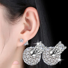 High quality fashion shiny crystal Shambhala ball female 925 sterling silver ladies`stud earrings jewelry birthday gift cheap(China)