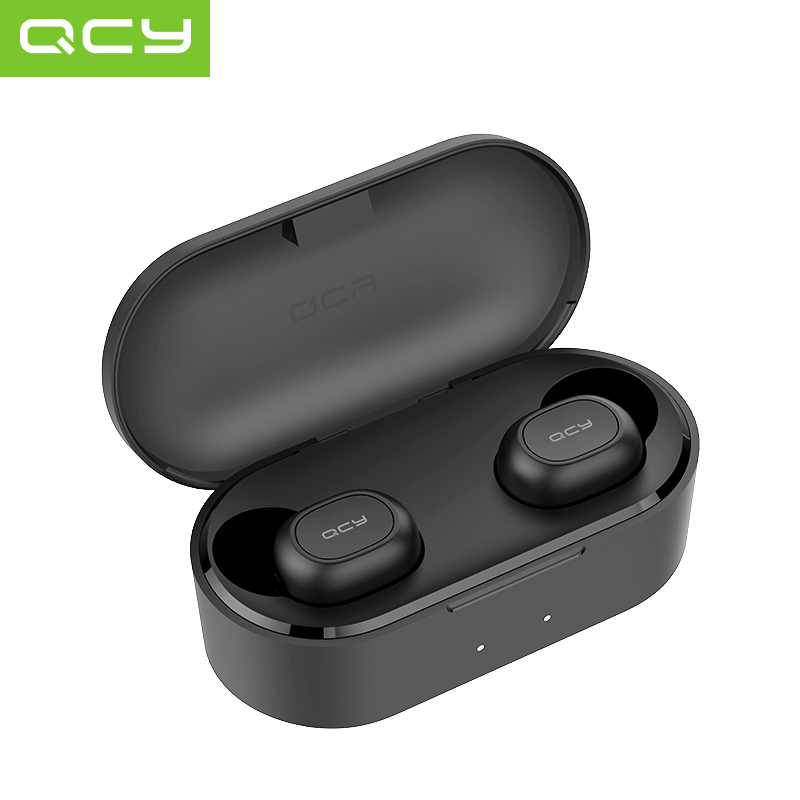QCY QS2 TWS Mini Dual V5.0 Bluetooth Earphones True Wireless Headsets 3D Stereo Sound Earbuds Dual Microphone Charging Box