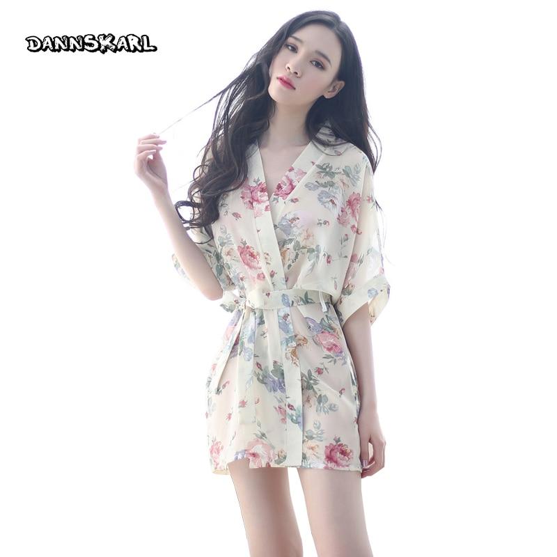 DANNSKARL Fashion Women Bath Robe 2017 Brand Summer Faux Silk Floral Lady Bathrobe Female Nightwear Mothers Sleep Kimono L XL