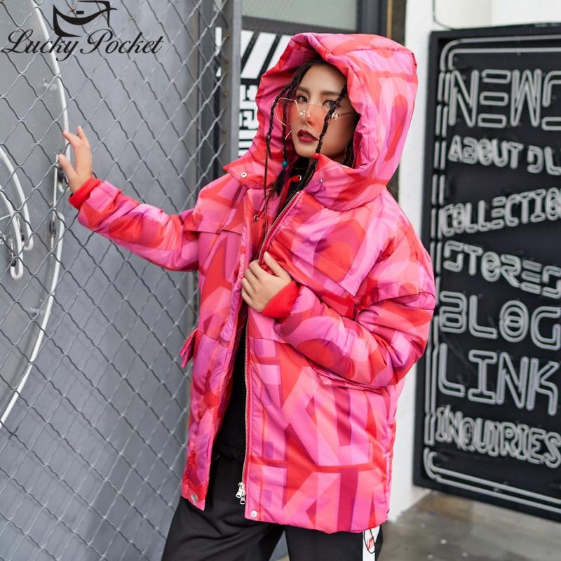 À Red De Nouvelle Épais La Mode Harajuku Féminine D'hiver Z489 Longues Décontracté Chaud Manches Imprimer Capuche Vêtements Manteau Femmes Lâche Coupe Parkas Lettre w5qIBxCFx
