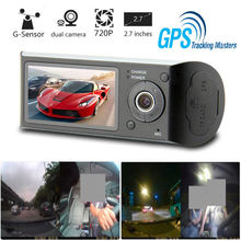 Автомобильный dvr камера Автомобильный dvr gps Двойная камера HD 1080 P ночного видения двойной объектив DVR рекордер Dash Cam 2,7 дюйм(ов) ов) видео рекордер ИК