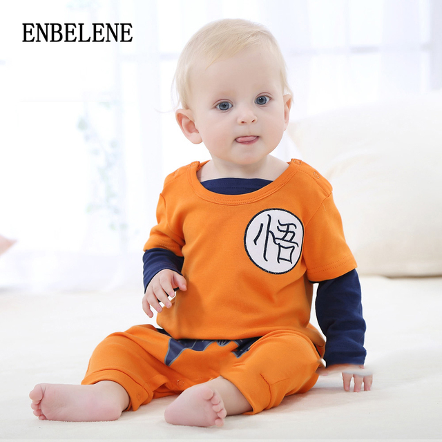 d7986c9e34150 2018 newborn baby Goku costume rompers 100% cotton orange 3D embroidery  dragon ball infant toddlers cartoon jumpsuits FE238