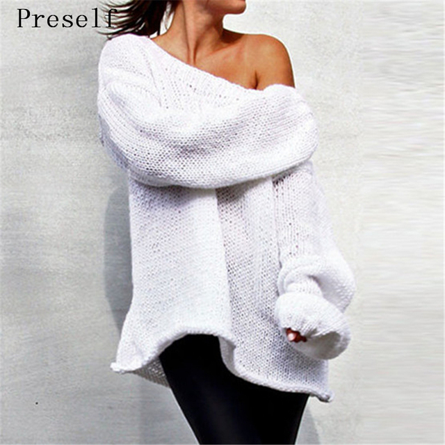 Preself Sweater Fashion Knitting Sexy Off Shoulder Slash Loose Oversized Sweaters Knitwear Pullover Tops Plus Size Celeb White