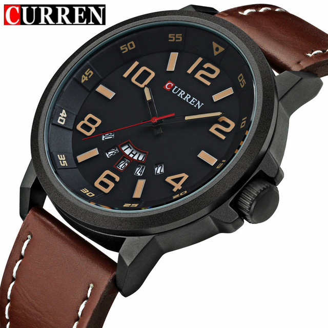 CURREN 8240 Mens Watches Top Brand Luxury Men's Quartz Watch Waterproof Sport Military Watches Men Leather relogio masculino амортизаторы кони 8240 1215 в москве