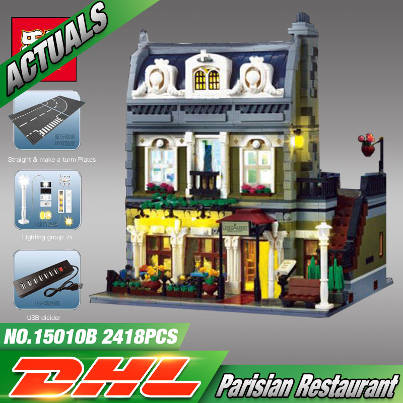 Lepin 15010B Streetview Series 10th Anniversary The Parisian Restaurant Set with Light Version Building Blocks Bricks Toys 10243 new lepin 15010 expert city street parisian restaurant model building kits blocks funny children toys compatible with 10243 gift