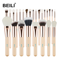 BEILI Pink 25 Pieces Makeup Brushes Set Natural goat hair Synthetic Wool fiber Powder Foundation Concealer Blusher Eye shadow
