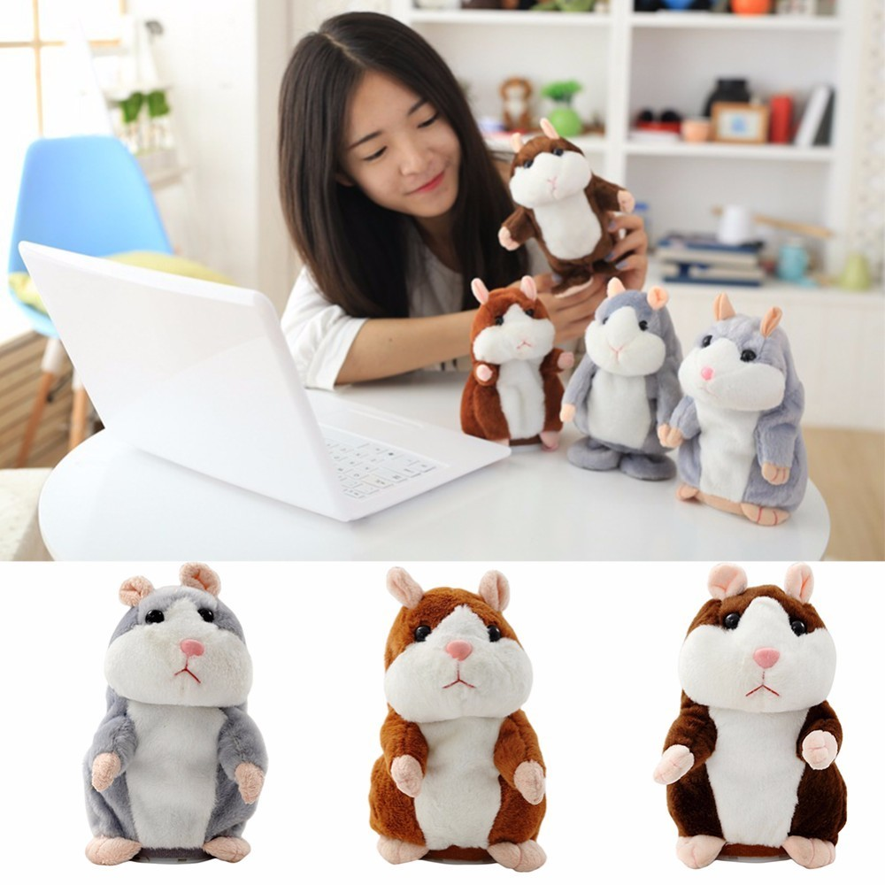 Children Plush Hamster Doll Toys Talking Hamster Mouse Pet Plush Toy Repeat What You Say Educational Toy for Children Gift