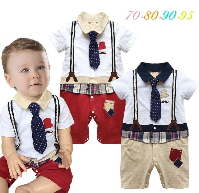 2016 del bebé del mameluco del verano corbata caballero infantil del mameluco del niño del cabrito causales buzos mamelucos bebe bebé traje ropa