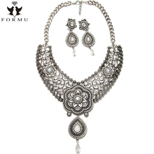 KQMX Vintage Necklace Jewelry Set With Earrings Handmade Rhinestone Inlaid Rose Charm Statement Necklaces Pendants NK1238