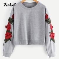 ROMWE Rose Stickapplikationen Sweatshirt 2017 Herbst Grau Frauen O Neck Pullover Langarm Casual Vintage Damen Sweatshirt