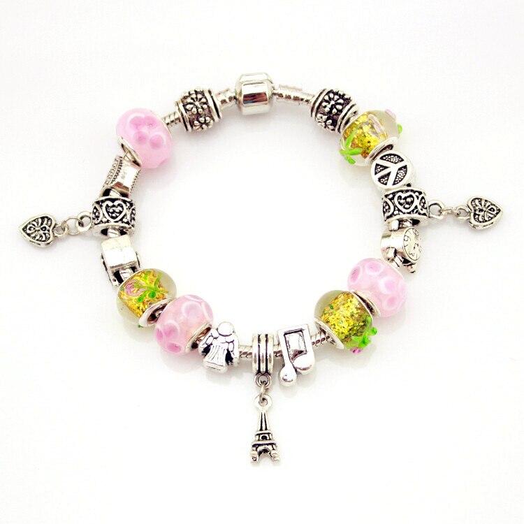 MPB Ishay Silber überzogene Charme Armband für Frauen Schlange Kette Glas Perlen Marke Armband