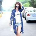 Женские летние пальто цветочный печать 3/4 рукав свободного покроя широкий длинные кимоно кардиган тонкий плащ лучших солнцезащитный крем одежда
