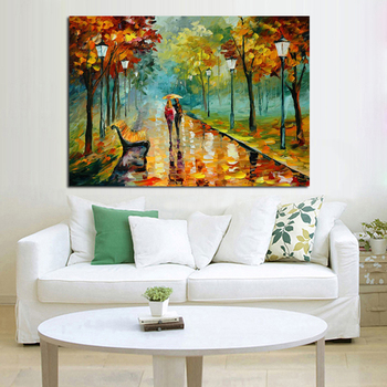 Handpainted Oil Painting on Canvas Beautiful Forest Scenery Wall Art Modern Abstract Home Decor