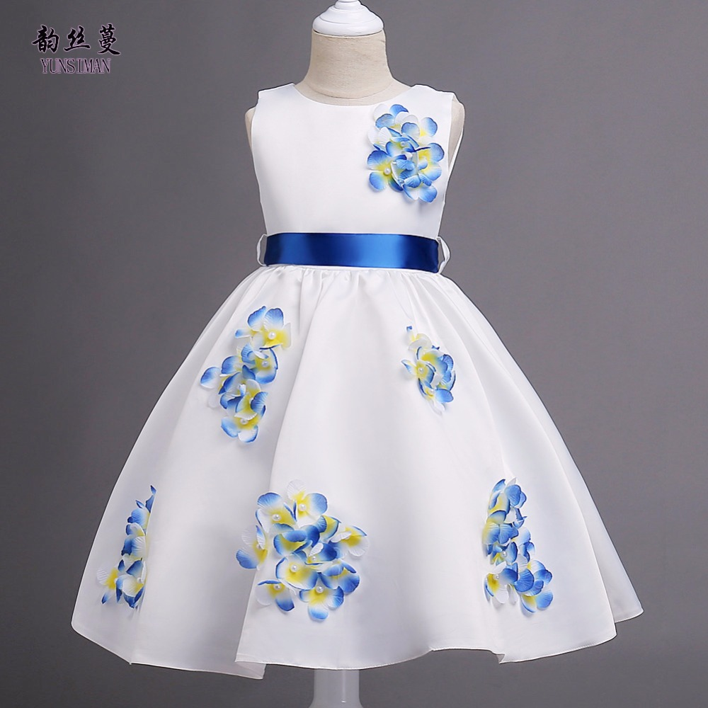 New 3 Dimensional Flower Dress for Girls 6 8 10 12 to 14 Years Blue Party Princess Evening Dresses Spring Kids Clothes 7 9 1L03 summer flower children princess dresses for wedding and party 1 2 3 4 5 6 7 8 years girls clothes new style toddlers kids dress