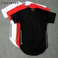 Hip Hop Extended Zipper Tartan Plaid t shirts Tyga cool Oversized black/white red Men Long tall Extended Oversize T shirt Dress