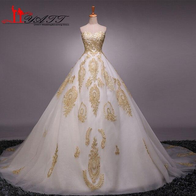 Abendkleider 2016 Arabic Style Vintage Gold Lace Dubai Liques Ball Gown Luxury Elegance Wedding Bridal