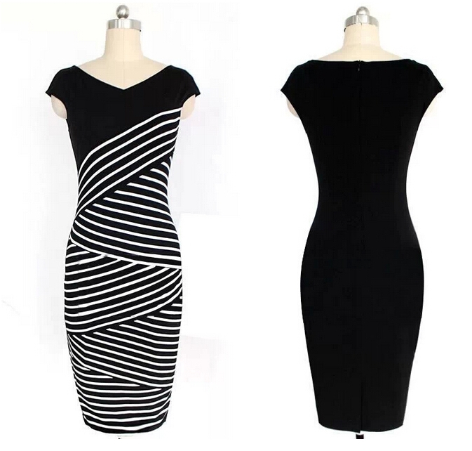 LuFF Store Dress Striped Dress Bodycon Vestidos Plus Size Knitted 32319438908-1