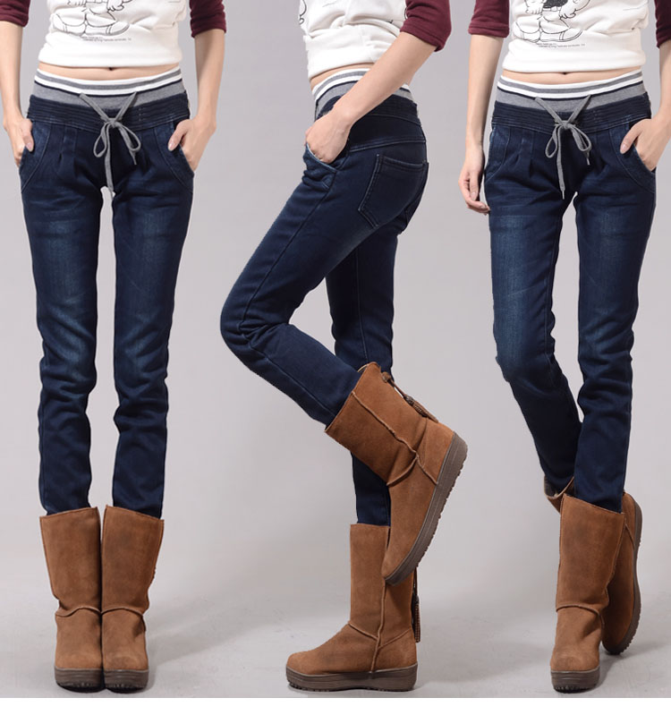 Denim pants Warm Jeans For Women Thicken Pants Winter Jeans Female Stretch Straight Fashion High Waist Jeans Femme Denim Pants