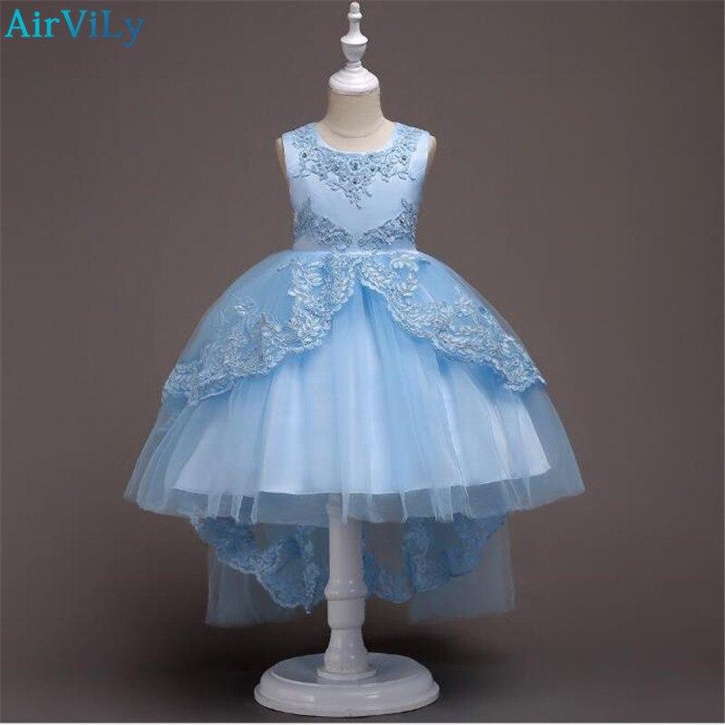 Girl Wedding Dresses Cute Girl Pageant Dress Fashion Children Dress Lace Flowers Princess Clothing High-grade Kids Clothes