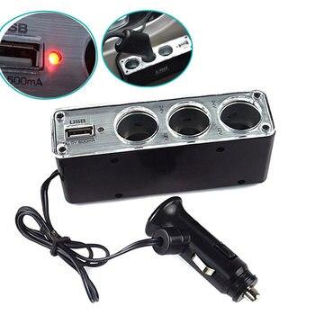 цена на 3 Way Multi Socket Car Cigarette Lighter Splitter USB Plug Charger DC 12V/24V Triple Adapter With USB Port  NJ88