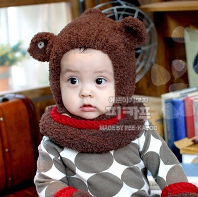 Ear coral fleece thermal fairy cap ear autumn and winter child baby ear cap d46 protector