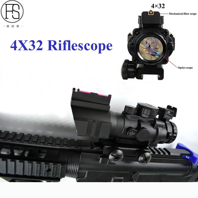 High Quality Tactical 4x32 Riflescope Military Reflex Optics Scope Hunting Sniper Scope Sight For Airsoft Rifle Gun 20mm Mount visionking 1 5 5x32 wide angle hunting tactical military waterproof riflescope fully multi coated rifle scope 223 professional