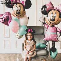 Воздушные шары в форме Микки, Минни большой гигантский 112 см большой красный бант стоящая мышь воздушные шары для детей день рождения украше...