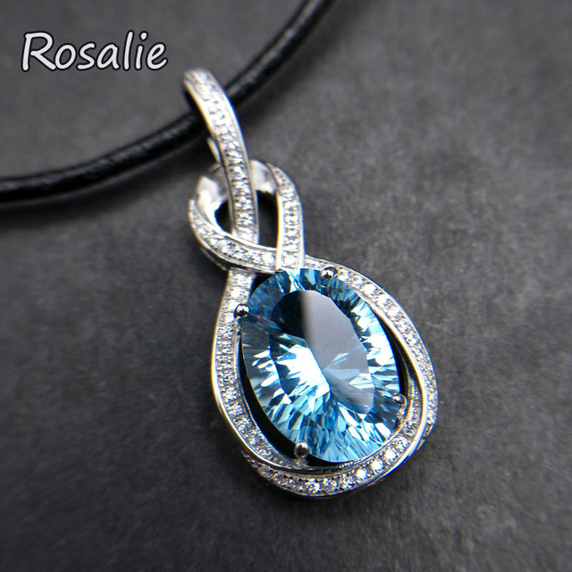Rosalie,Natural Blue topaz oval cut 6.7ct  gemstone pendant lether necklace  925 sterling silver for women fine jewelry with box