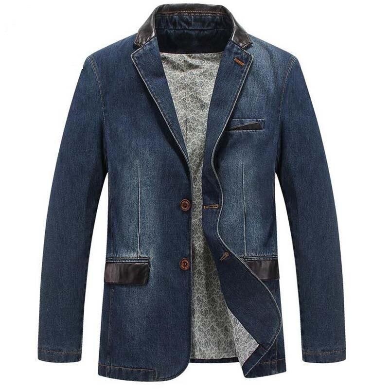 새로운 레저 카우보이 코트 망 느슨한 블레 이저 정장 가을 데님 재킷 패션 chaqueta 코트 자켓 탑 외부 남성 블레이저-에서블레이저부터 남성 의류 의  그룹 1