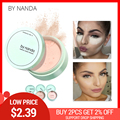 Por NANDA 3 colores translúcido polvo prensado con Puff suave maquillaje cara base impermeable holgado polvo coreano conjuntos de maquillaje