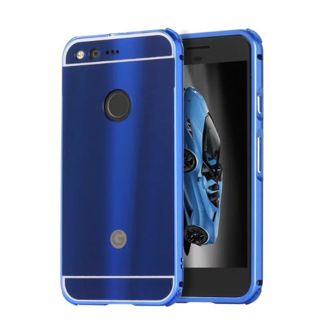 new products f2f39 4960f US $9.59 |For Google Pixel Phone Case Plating Metal Frame with Brushed Back  Cover Hard Case for Google Pixel 5.0