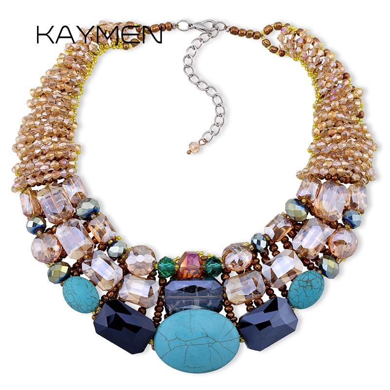 KAYMEN Bohemian NEW choker Necklace, Women's Strand Multilayer Crystal bib Statement necklace NK-01290 vintage bib rhinestone crystal statement choker necklace for women