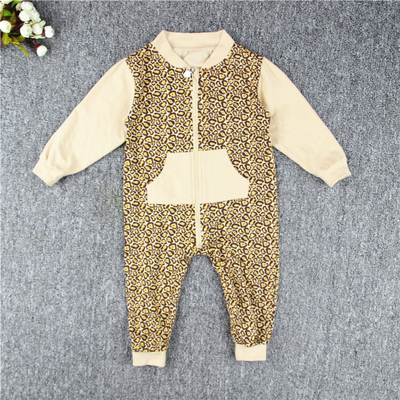 2018 new girls boys baby long sleeve rompers spring autumn Leopard zipper jumpsuits overall newborn baby