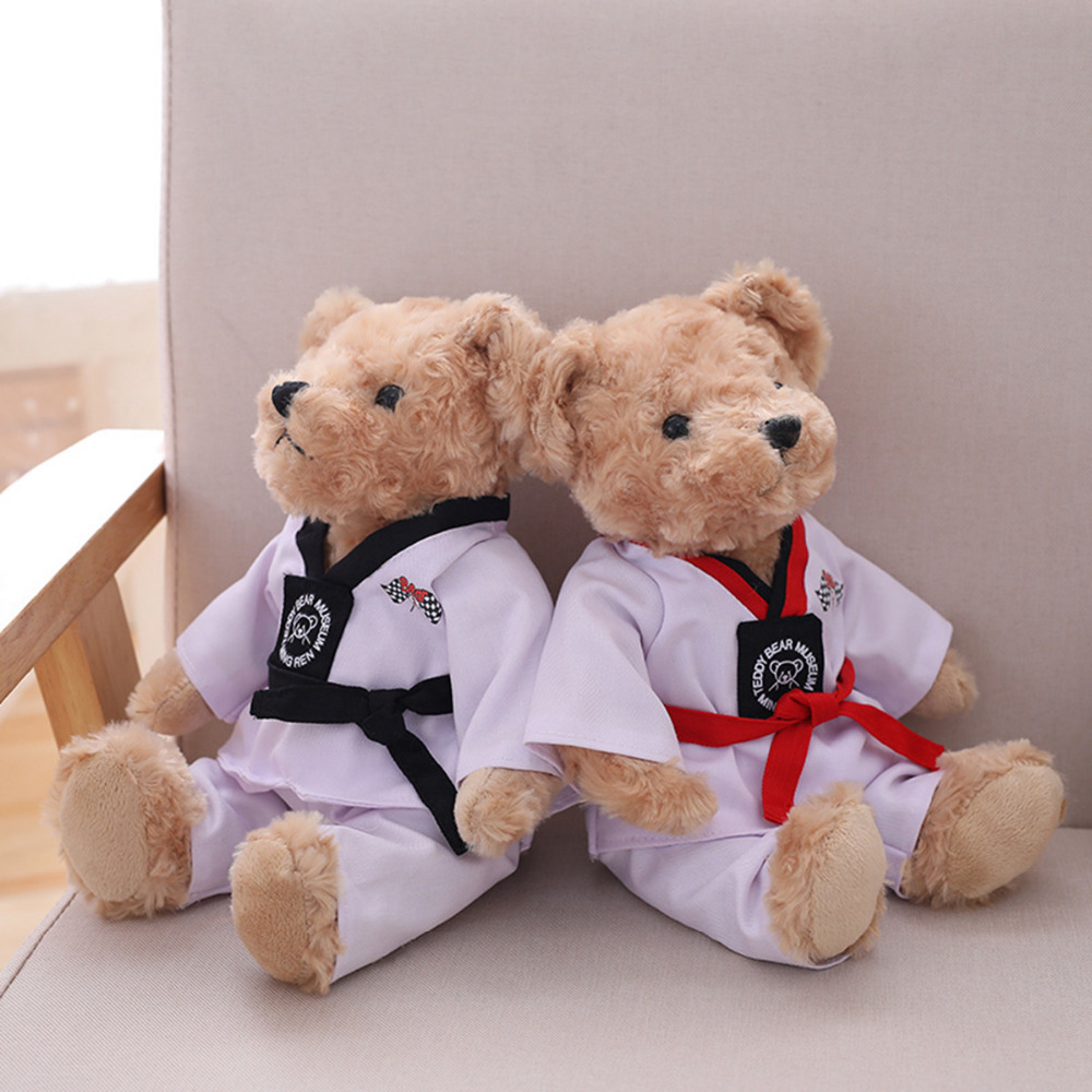 1pc 30cm Cute Taekwondo Teddy Bear Plush Toys Stuffed Kawaii Animal Bear Doll