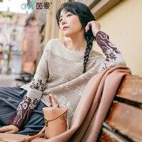 INMAN Women S 2017 Autumn New Fan Art Printing Head Sweater Female Long And Short In