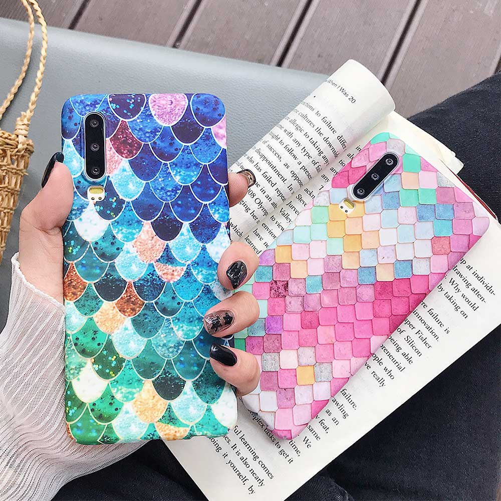 KISSCASE Fish Scale Luminous <font><b>Case</b></font> For <font><b>Huawei</b></font> P30 P20 P10 Pro P Smart Mate 20 Lite Honor 8X 9 10 Lite Honor Play <font><b>Y7</b></font> Y9 <font><b>2019</b></font> Cover image