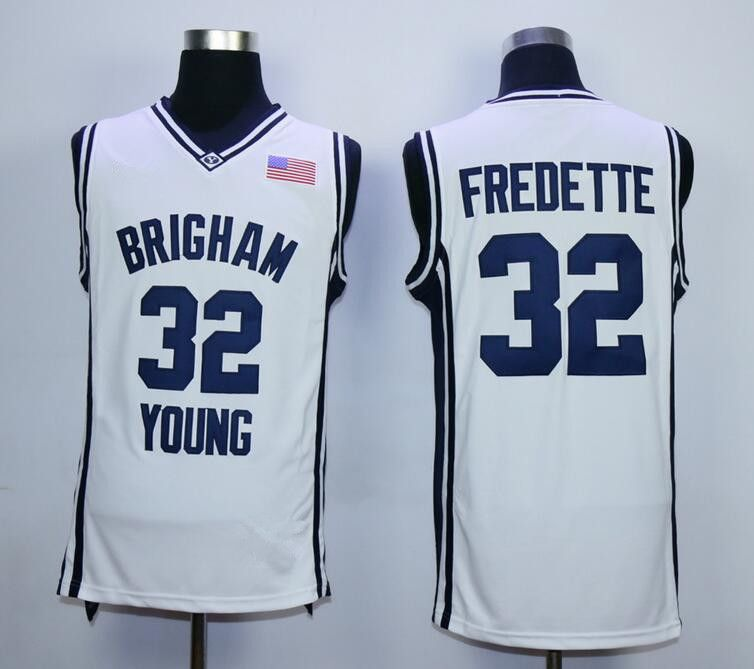 9add84366de5 ... 32 Jimmer Fredette Brigham Young College Basketball Jersey Embroidery  Stitched Custom any Number and name ...