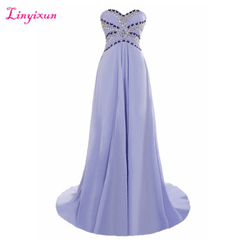 Linyixun Real Photo Lavender Chiffon Long Prom Dresses 2017 With Beaded Sweetheart Sweep Train Evening Dresses Robe de soiree фото