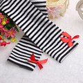 New Arrival Striped  Bowknot Cotton Stockings Cute One Pair Baby Kid Children Leg Warmers Winter Warm Free Shipping