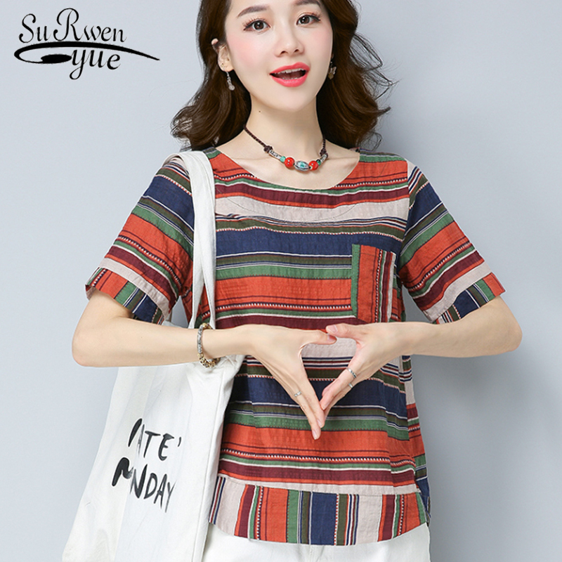 fashion 2018 short sleeve stripe women tops plus size summer women shirt blouse Cotton linen womens clothing blusas D805 30 ...