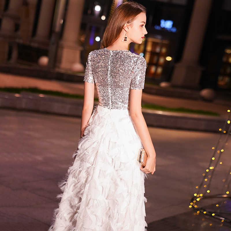 3050884d4b2a1 weiyin White Long Evening Dresses Women Elegant Sexy Lace O neck Long  Evening Gown 2019 Sequined Dress robe de soiree WY1036