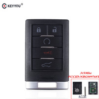 KEYYOU For Cadillac SRX 2010 2011 2012 2013 2014 keyless Entry Car Key NBG009768T 5 Buttons Remote Car Key 315MHZ