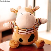 new style large 40cm cartoon cow plush toy dressed cloth cow soft doll throw pillow birthday gift s1203