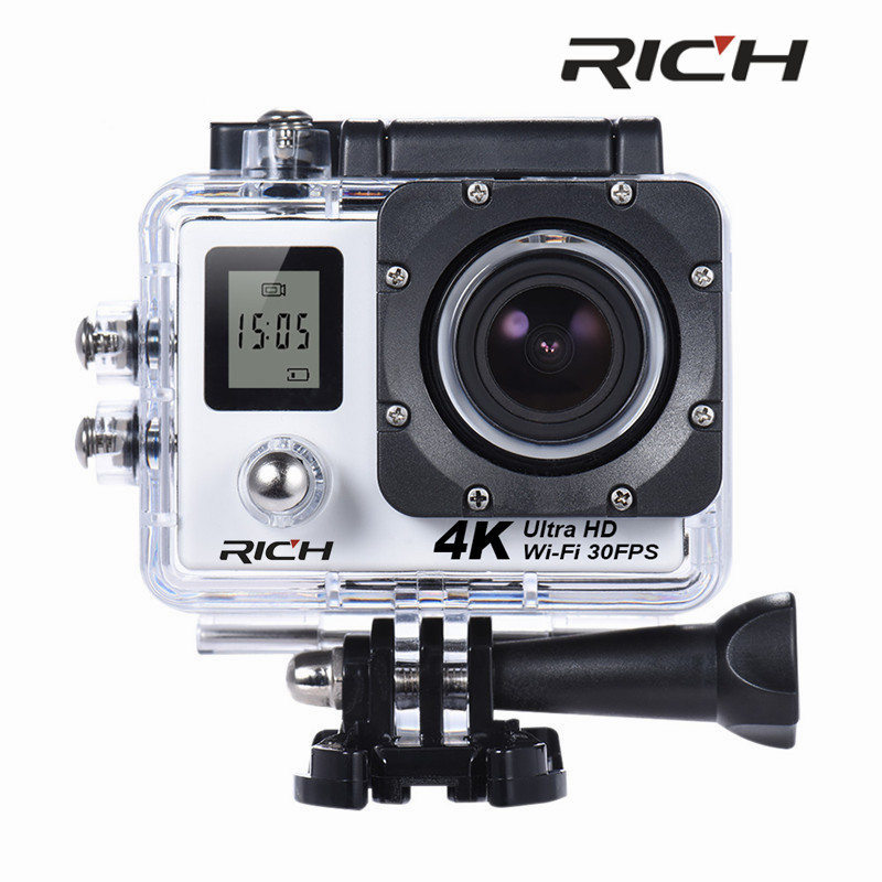 RICH SJ8000D 4K 30FPS 2.7K Action Camera 16MP WiFi Sports Cameras Dual LCD Display 30M Waterproof mini camcorder 170 angle Cam