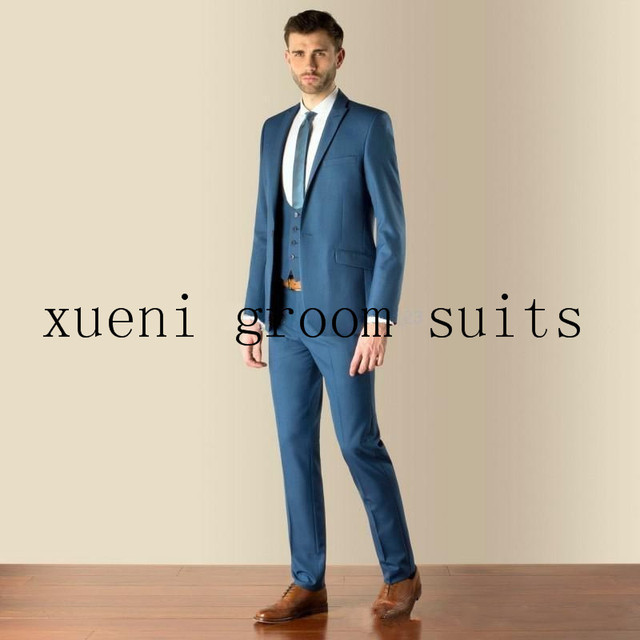 2015 Nice Suit Blue Peak Lapel 3 Pieces Groom Tuxedos Groomsmen ...