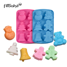 6 Cavities 3D Handmade Christmas Tree Snowman Silicone Soap Mold DIY Baking Mold Ice Cube Bread Biscuit Chocolate Mould Cake Pan недорого
