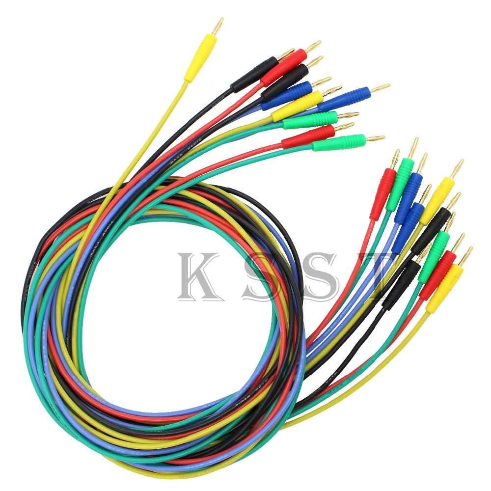 TL040 1.0meter High Quality 18AWG flexible silicone 2mm banana Plug Patch Cord Test Lead 1pcs yt191 high voltage 4 mm banana plug test lead cable wire 100 cm for multimeter the probes gun type banana plugs